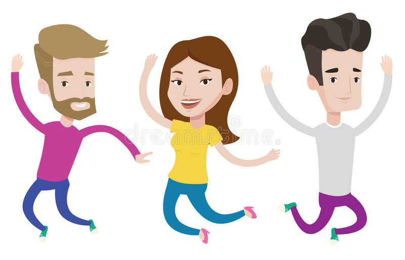 Group of joyful young friends jumping. stock illustration