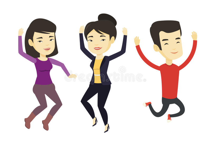Group of joyful young people jumping. stock illustration