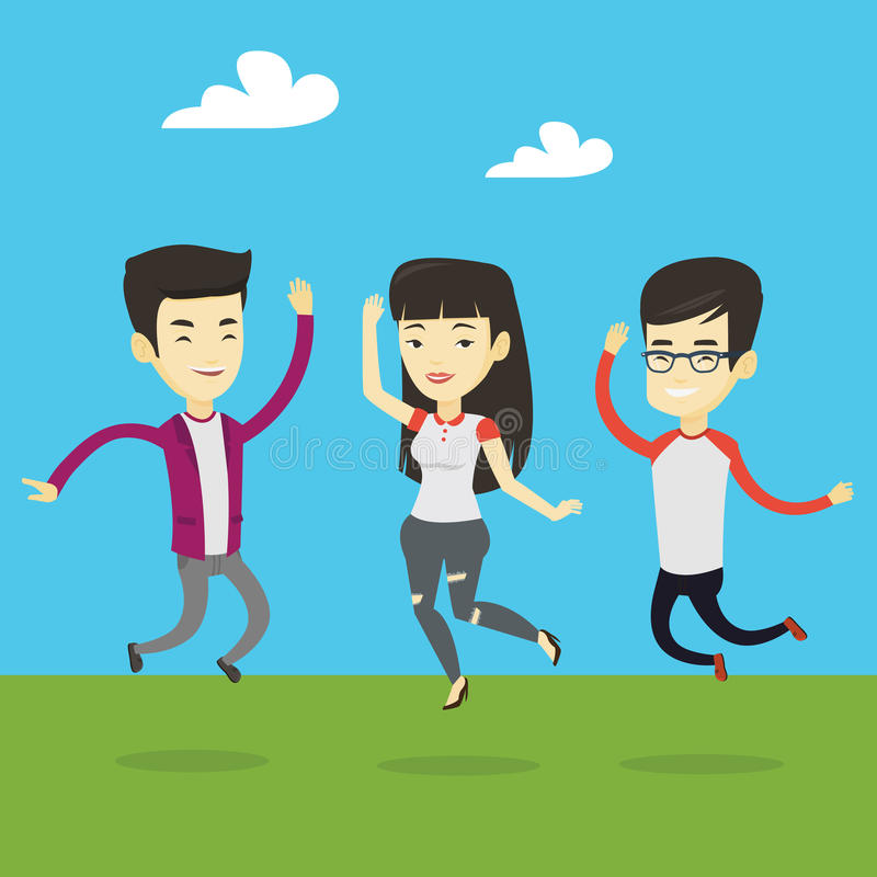Group of joyful young people jumping. royalty free illustration