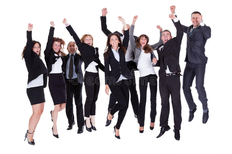 Group of jubilant business people royalty free stock photo