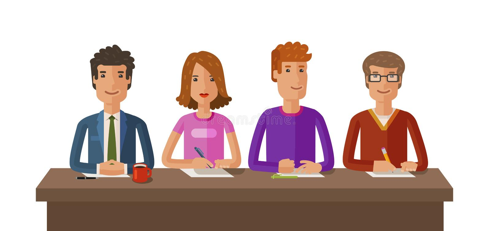 Group of judges or students. Exam, education, study concept. Vector flat illustration. On white background vector illustration