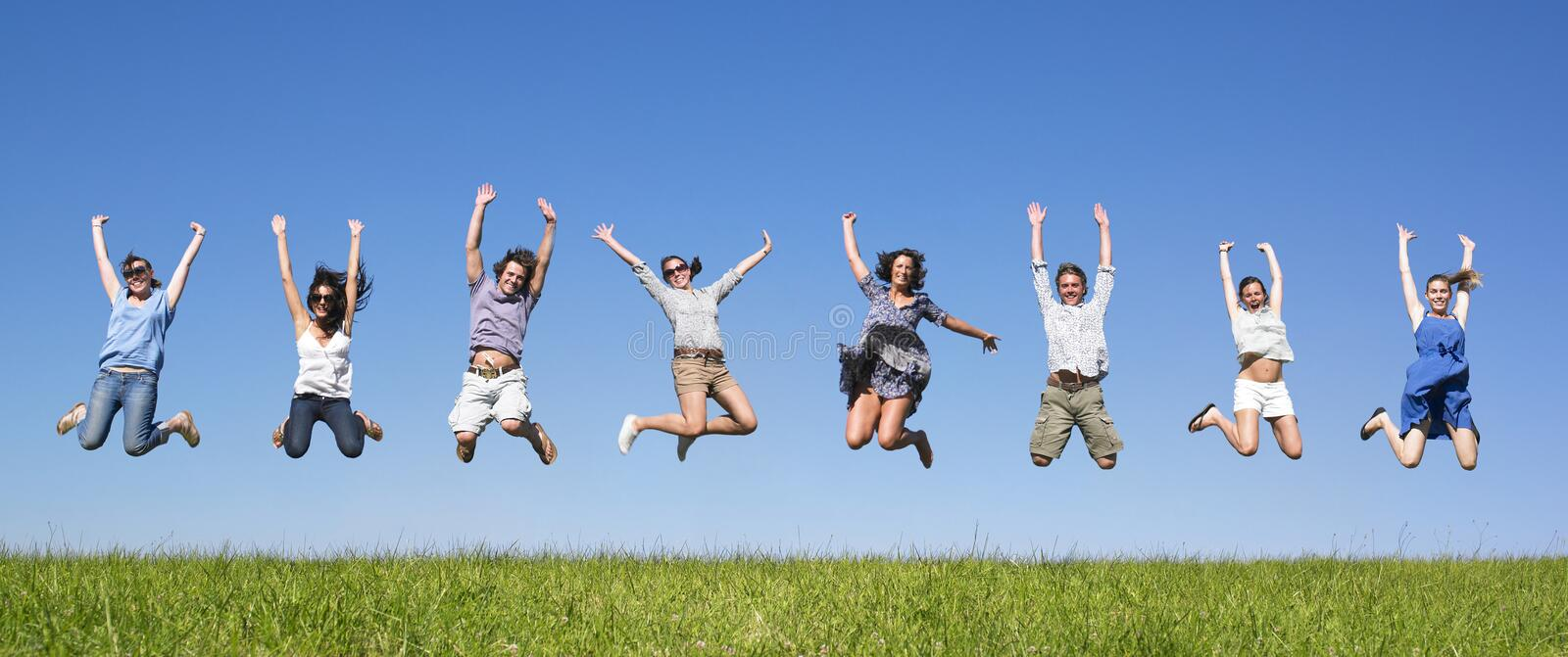 Download Group jumping stock photo. Image of friendship, happy - 11181740