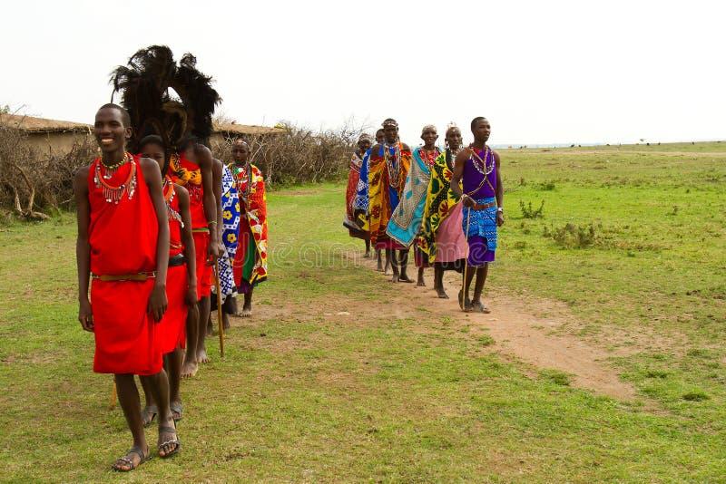 Group of kenyan of Masai tribe stock photography