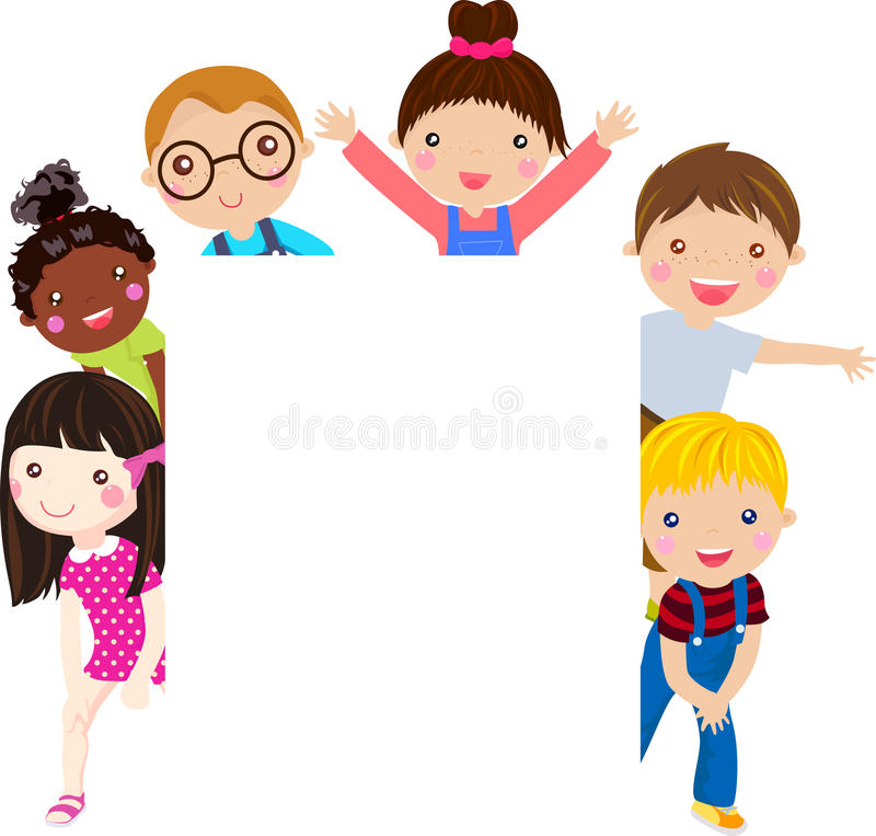 Group of kids and banner vector illustration