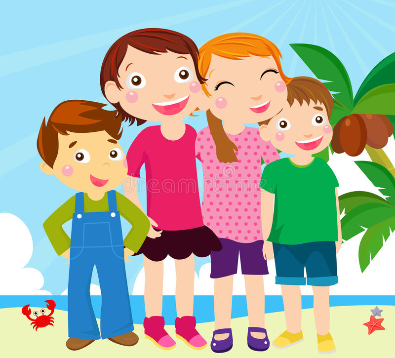 Group of kids on beach vector illustration