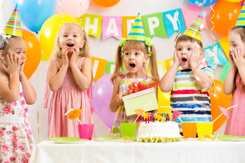 Group of kids at birthday royalty free stock photo