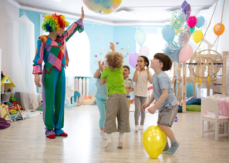 Group of kids celebrate party fun together royalty free stock photos