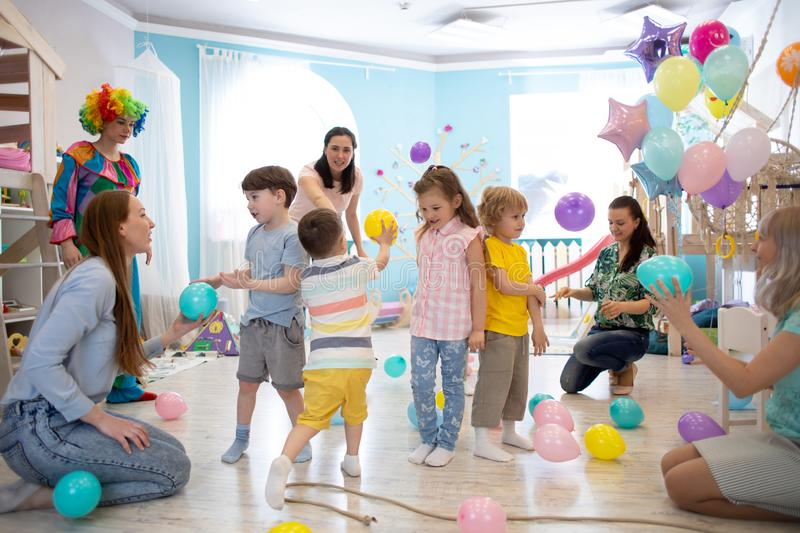 Group of kids celebrate party fun together royalty free stock photo