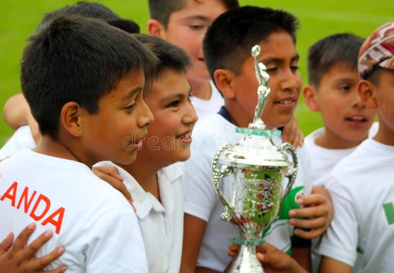 Group of kids celebrates the winning royalty free stock image