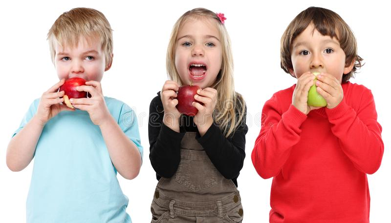 Group of kids children eating apple fruit autumn fall healthy is. Olated on a white background royalty free stock images
