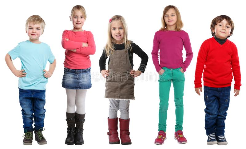 Group of kids children little boys girls full body portrait isolated on white. Group of kids children little boys girls full body portrait isolated on a white stock photography