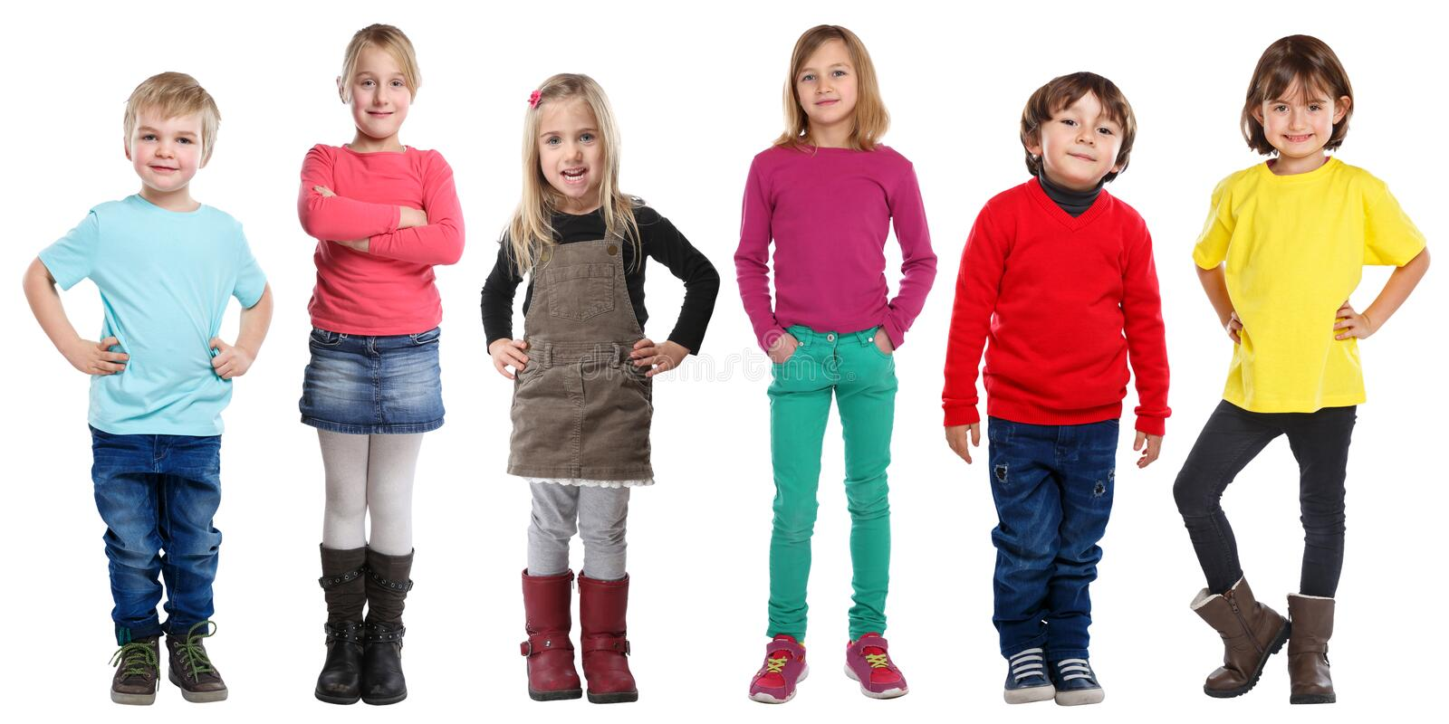 Group of kids children little boys girls full body portrait isolated on white. Group of kids children little boys girls full body portrait isolated on a white stock photos