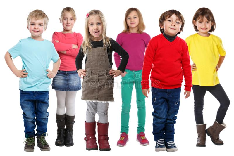 Group of kids children little boys girls isolated on white. Group of kids children little boys girls isolated on a white background royalty free stock photography