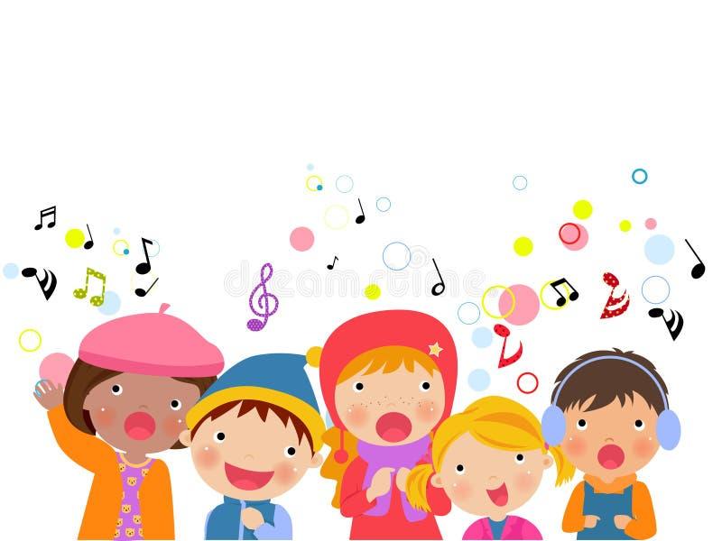 Group of kids chorus singing Christmas songs stock illustration