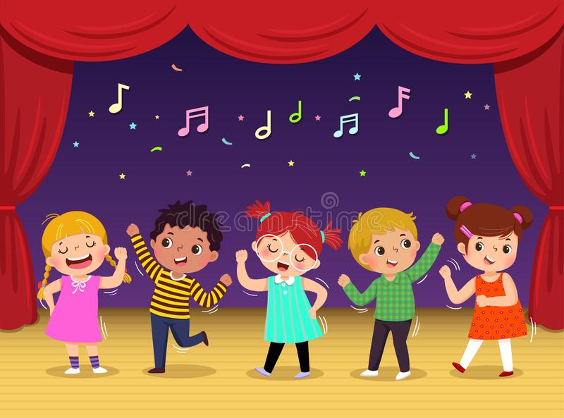 Group of kids dancing and singing a song on the stage. Children's performance stock illustration