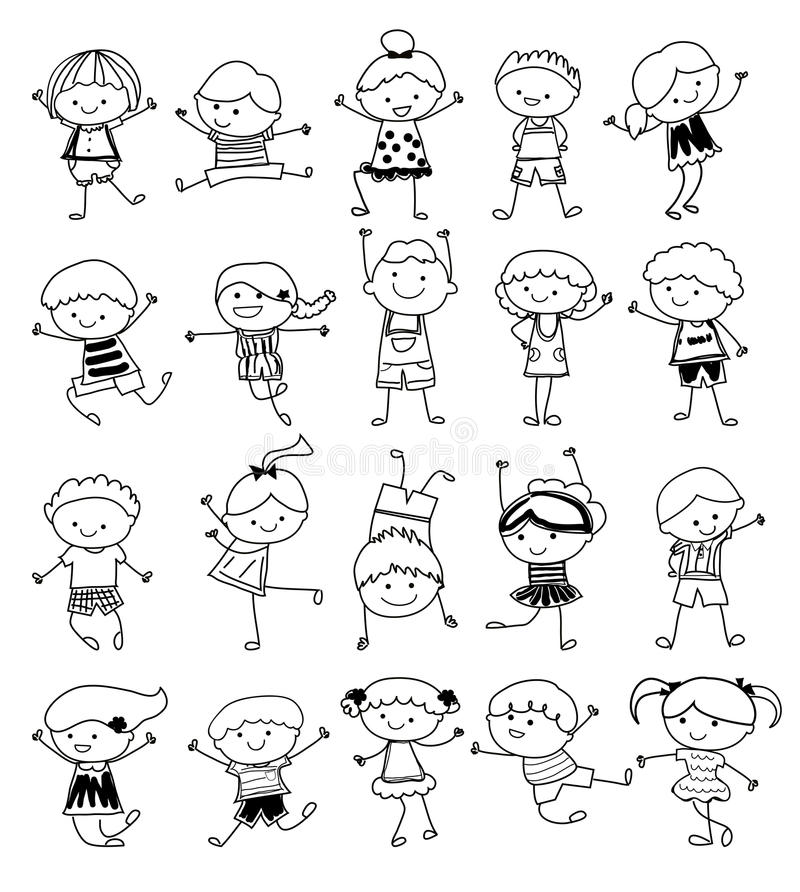 download group of kidsdrawing sketch stock vector illustration 46172592 - Kids Drawing Sketch