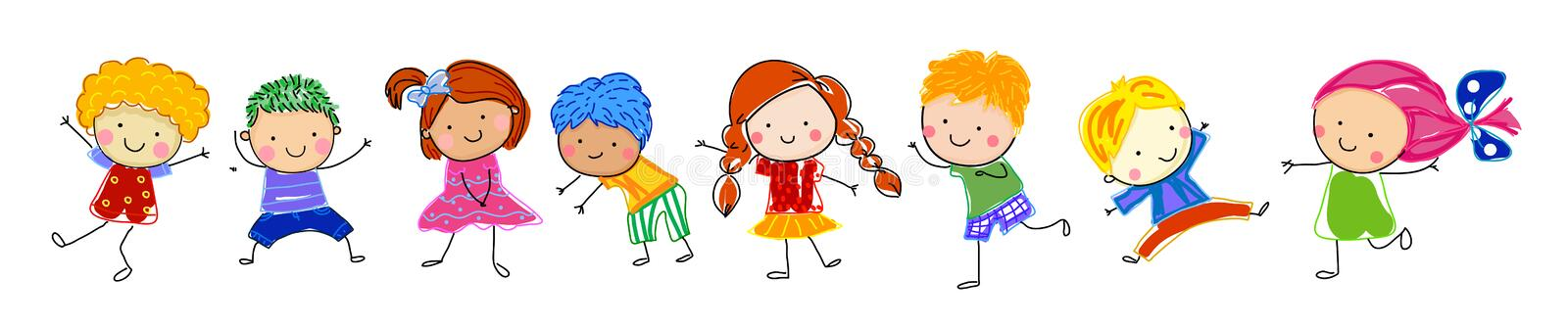 Group of kids, drawing sketch stock illustration