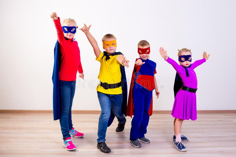 Superheroes kids friends royalty free stock photography
