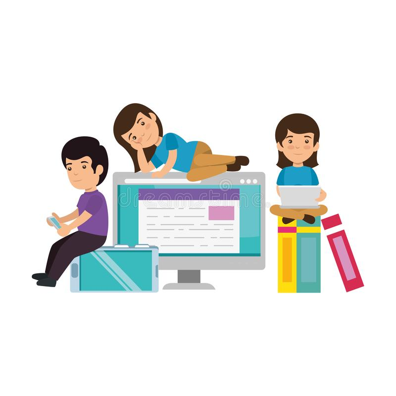 Group of kids with electronic devices. Vector illustration design royalty free illustration