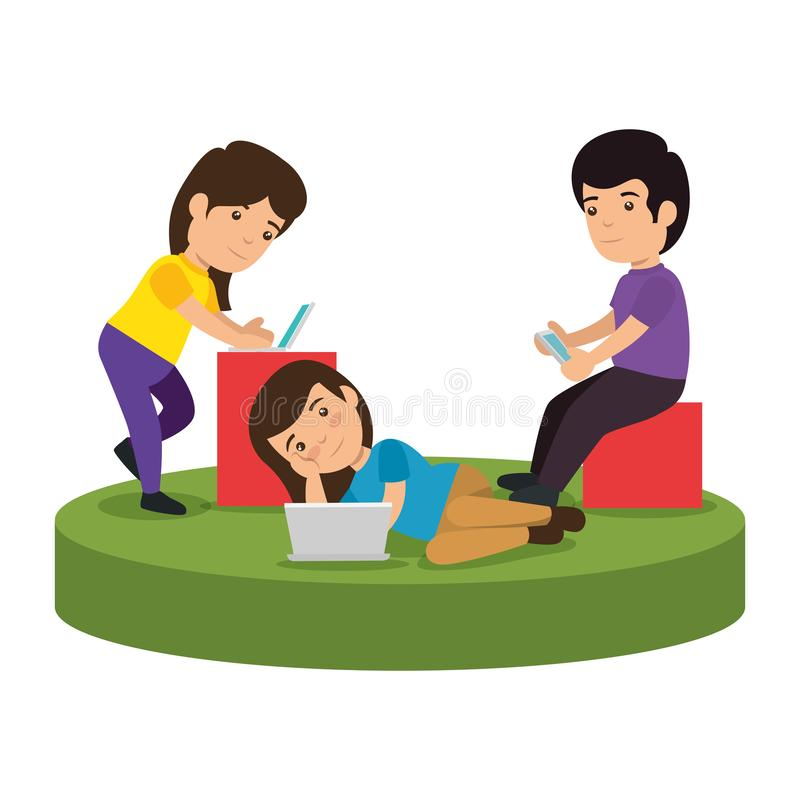 Group of kids with electronic devices. Vector illustration design stock illustration
