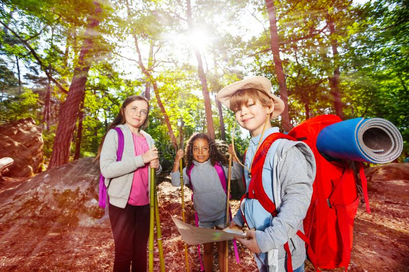 Summer camp navigation kids activities in forest stock photography