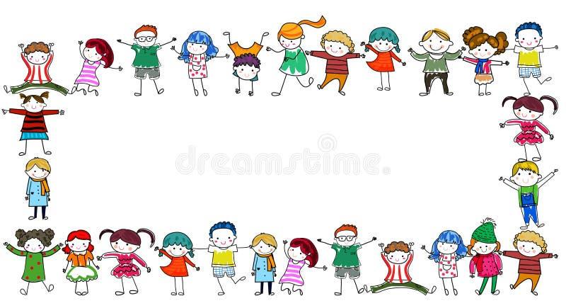 Group of kids frame stock illustration