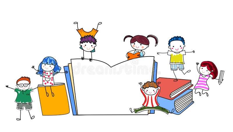 Group of kids frame vector illustration