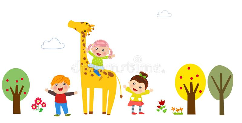 group of kids and giraffe, background. stock illustration