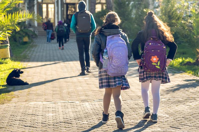 Group of kids going to school, education royalty free stock image