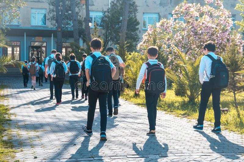 Group of kids going to school, education royalty free stock photography