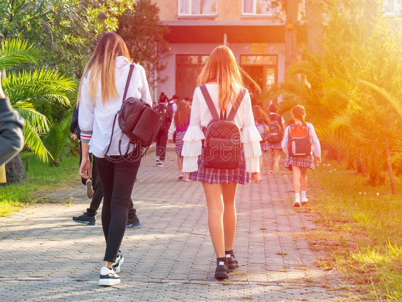 Group of kids going to school together, back to school.  stock images