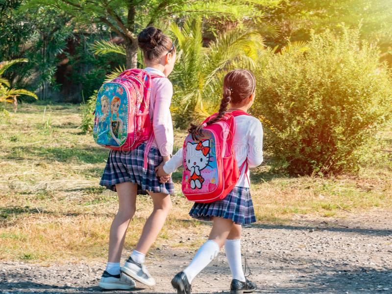 Group of kids going to school together, back to school stock image
