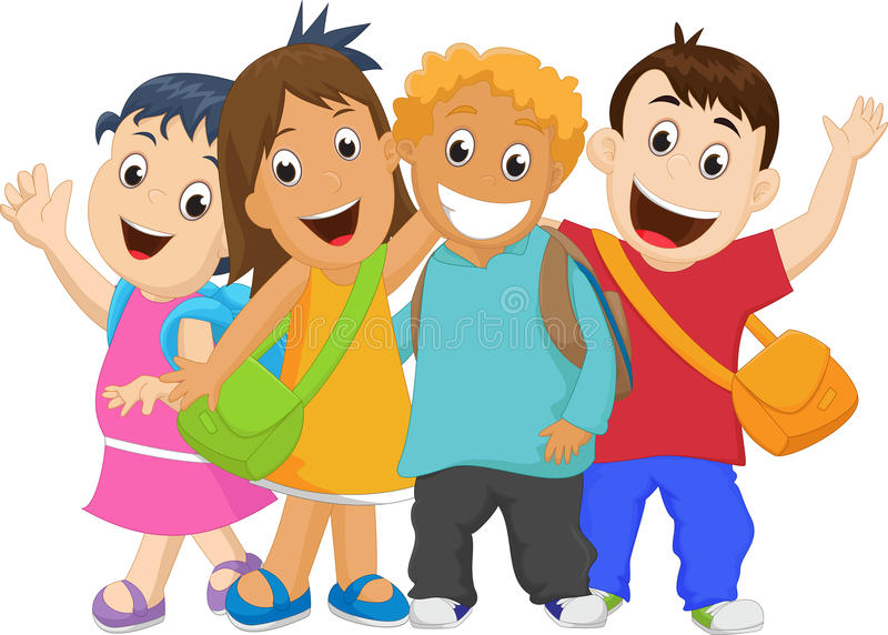 Group of kids going to school together. stock illustration