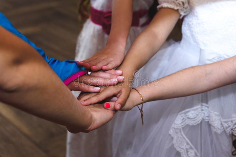 Group of kids hands playing games and having fun at birthday ce royalty free stock photos