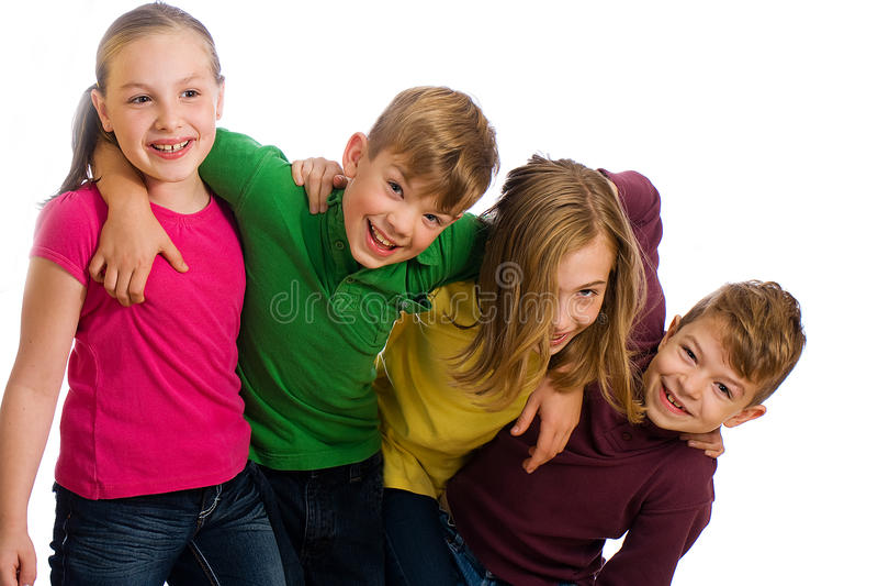Group of kids having fun stock photos