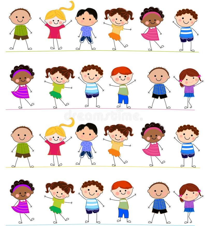 Group of kids having fun stock illustration