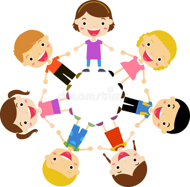 Group of kids holding hands standing around vector illustration