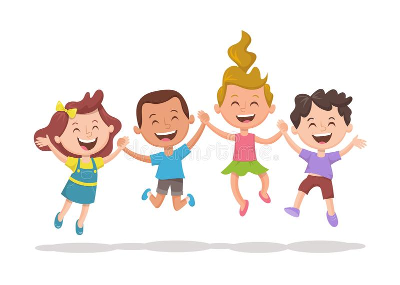 Group of kids holding their hands and jumping royalty free illustration