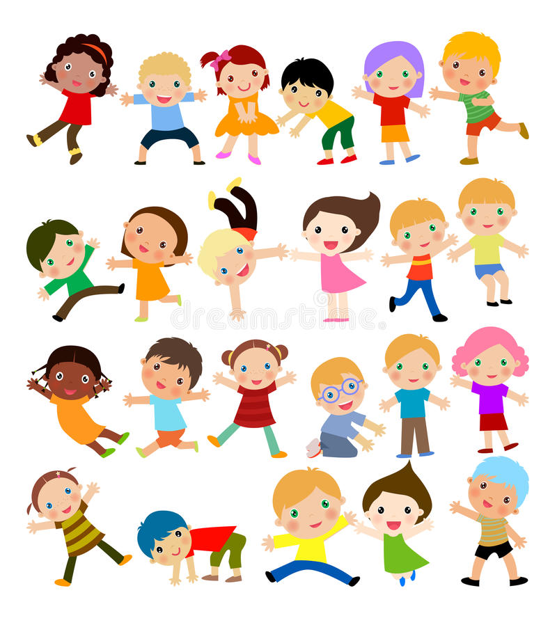 Group of kids stock illustration