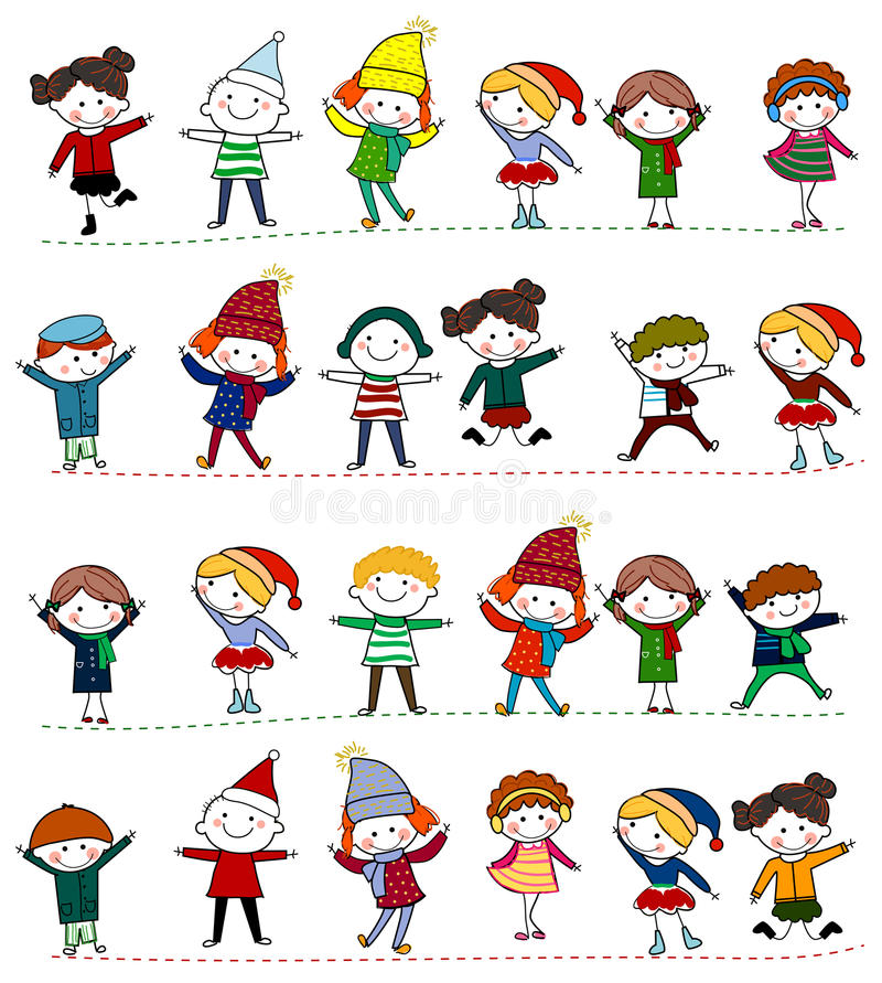 Group of kids stock illustration