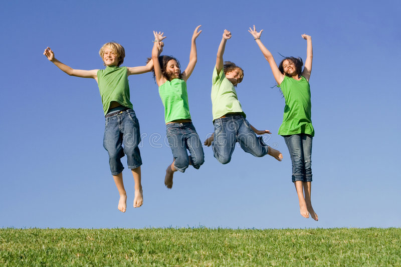 Download Group Of Kids Jumping At Summer Camp Stock Image - Image: 5595999
