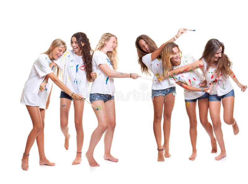 Group kids painting royalty free stock photography