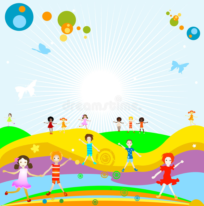 Group of kids playing stock illustration