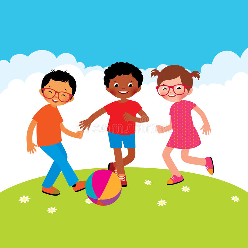 Group of kids playing with a ball stock illustration