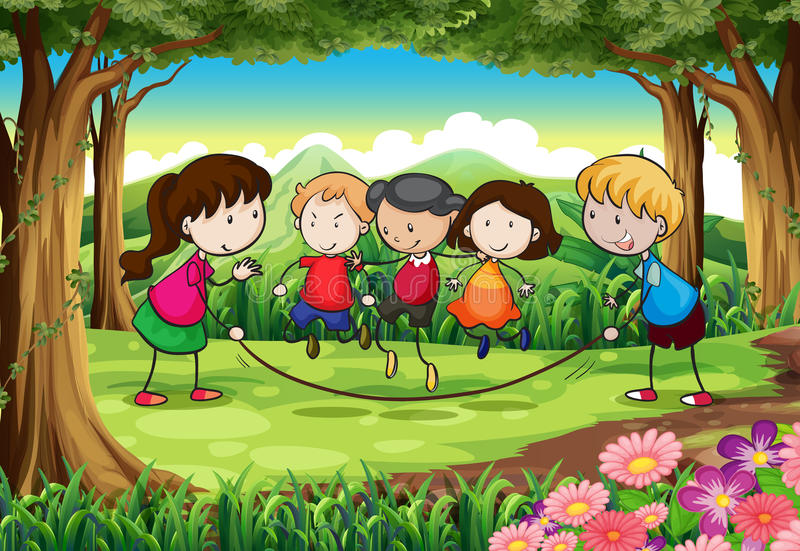 A group of kids playing at the forest royalty free illustration