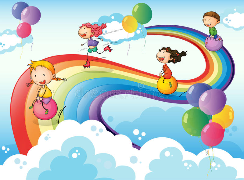 A group of kids playing at the sky with a rainbow vector illustration