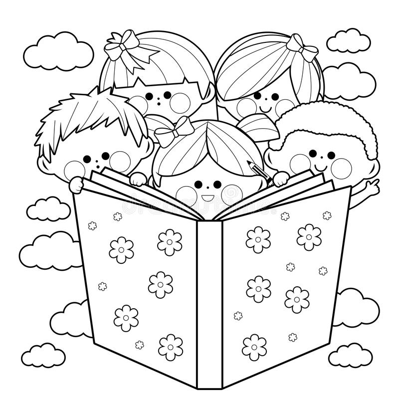 Group Of Kids Reading A Book Coloring Book Page. Stock Vector ...