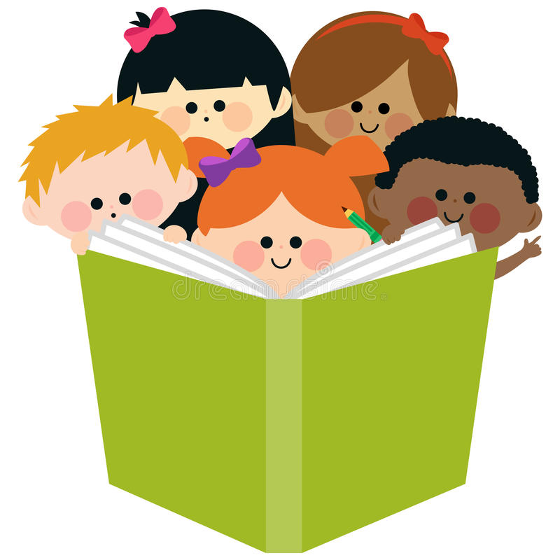 Group Of Kids Reading A Book Stock Vector - Illustration ...