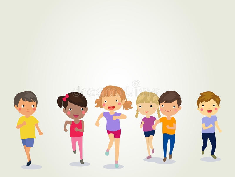Group of kids running vector illustration
