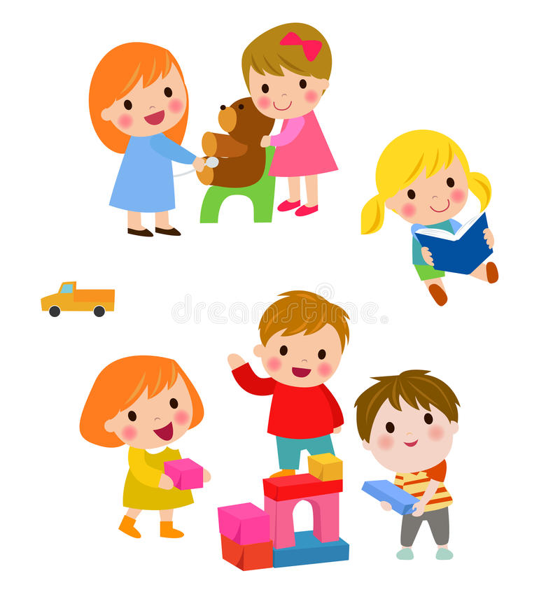 Group of kids set vector illustration